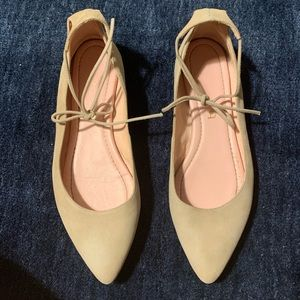 Cream UNISA real suede pointy flats